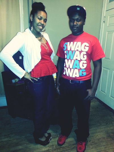 me and my lil brother crazy hw he's almost taller than me with heels on