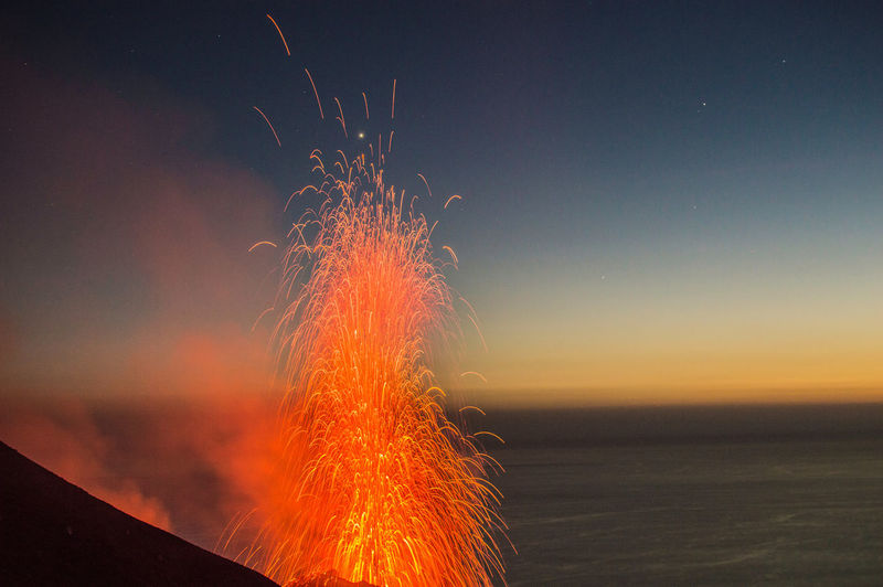 Vulcanic eruption Heat - Temperature Night Nature No People Land Power In Nature Outdoors Stromboli Italia Sicilia Eruption Volcano Earthquake Lava Lapilli Fire Geology Geological Geological Landscape Nightphotography