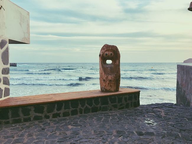 Sea Sky Horizon Over Water No People Cloud - Sky Outdoors Statue Canaries I See Faces