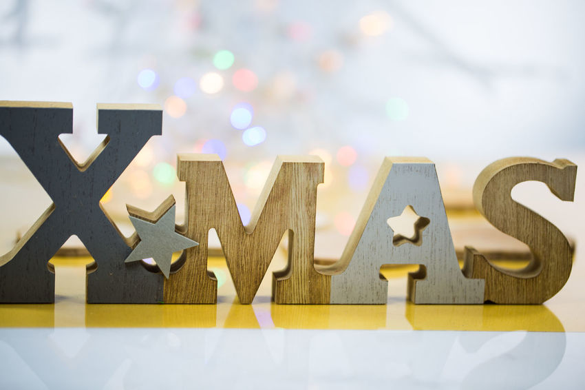 Art And Craft Capital Letter Celebration Christmas Decoration Close-up Communication Creativity Focus On Foreground Indoors  Letter No People Paper Shape Sign Star Shape Still Life Table Text Western Script Wood - Material Xmas, Chris