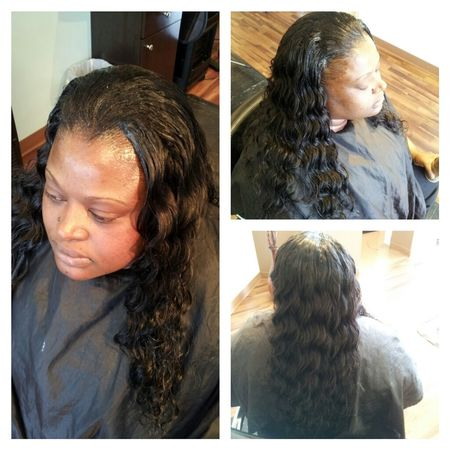 FULL SEW-IN WITH OCEAN WAVE REMY HAIR.