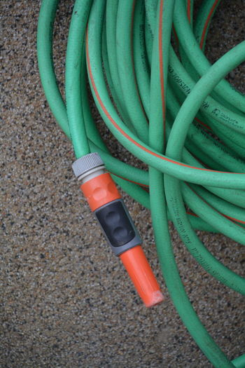 High angle view of garden hose