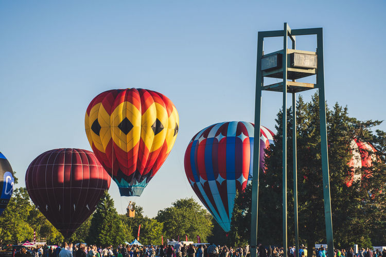 View of hot air balloon against clear sky