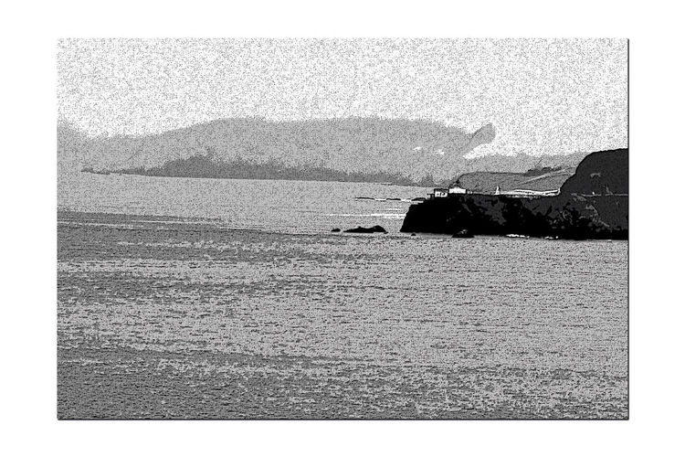 Sites Along Coastal Trail To Eagle's Point 7 San Francisco Ca Pacific Ocean Seaview Bnw_friday_eyeemchallenge Dense Fog Point Bonita Lighthouse Rocky Shoreline Swift Tides Treacherous Waters Seaside Black & White Black And White Collection  Black And White Monochrome Seascape Black And White Photography Ocean View Photo Painting Poster Edges Edit Marin Headlands
