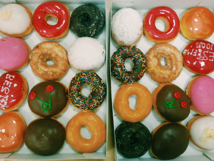 Sweet Food Variation Directly Above Food Multi Colored Large Group Of Objects No People Indoors  Dessert Close-up Donut Day Freshness Ready-to-eat Choice Arrangement KrispyKreme Doughnuts Doughnut Doughnuts♥ Visual Feast Food Stories