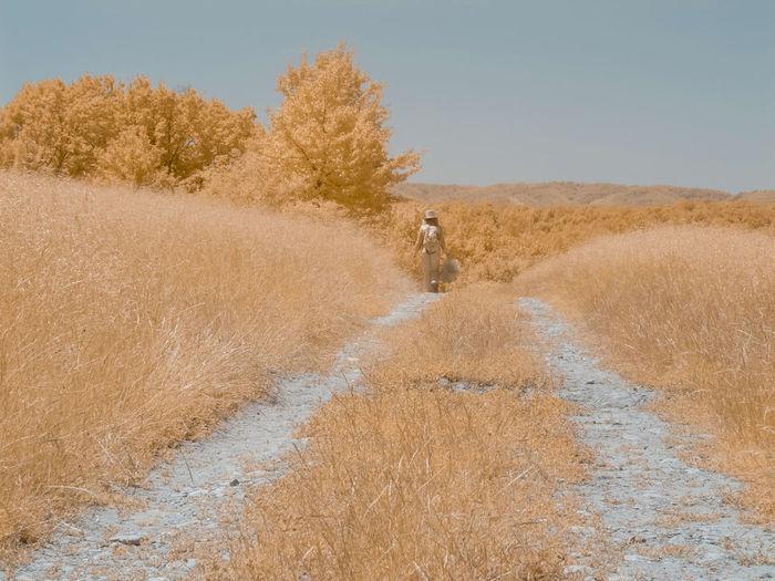 Woman walking on inftrared field