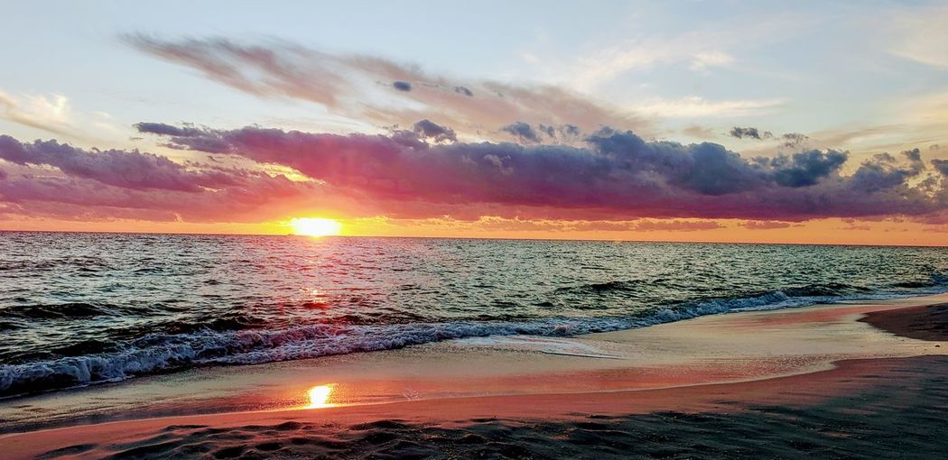 Water Sea Sunset Beach Beauty Wave Multi Colored Horizon Summer Sand