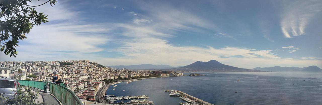 Naples, Italy Napoli Travel Destinations Volcano Vesuvio Sea Golfo Di Napoli Landscape Lungomarenapoli