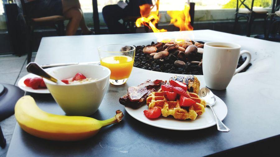 Breakfast served on table