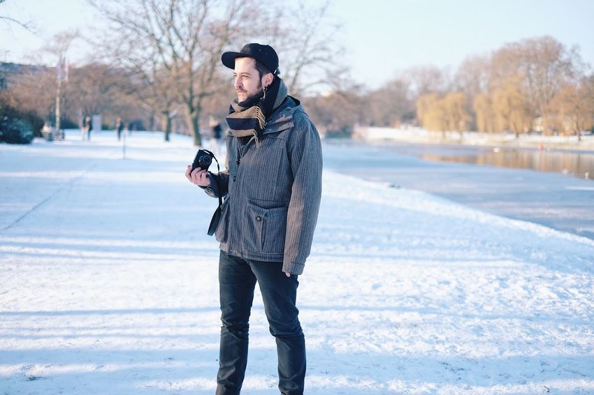 Winter Cold Temperature Snow Warm Clothing One Person Full Length Outdoors Frozen Holding Camera Photographer Xavier