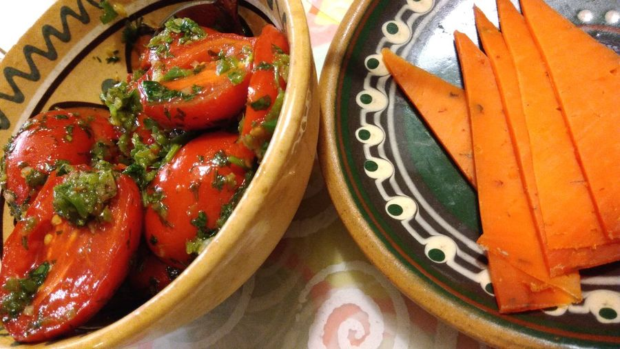 Tomatoes Tomato Tomatoes Food Freshness Ready-to-eat Appetizer Red Orange Green Pickle Pickles Pickled Vegetables Pickled Tomatoes Sweet Sour Cheese Tomatoes Cheese Side Dish Salty Appetizers And Drinks Appetizing  Appetizing Food Vegetable Preserve Preserved Food