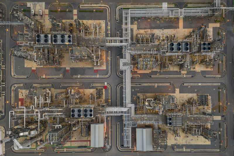 Refinery oil and gas production industry petrochemical zone chonburi thailand aerial top view