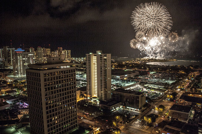 4 Of July  City City Life Cityscape Fireworks Honolulu  Night No People Tall - High Tourism Tower