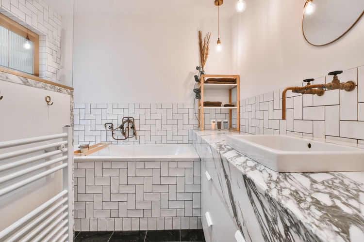 Low angle view of bathroom at home