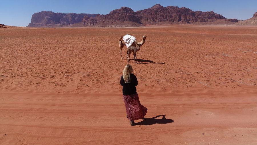 Full length of senior man in desert