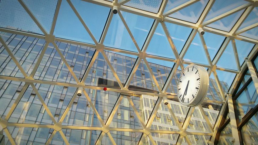Time Time Passes By Clock Clocks At Street New Building  Lines Modern Architecture Old Fashioned Clock