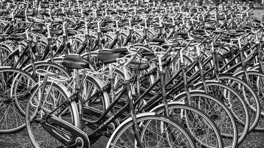 High angle view of bicycle parked in row