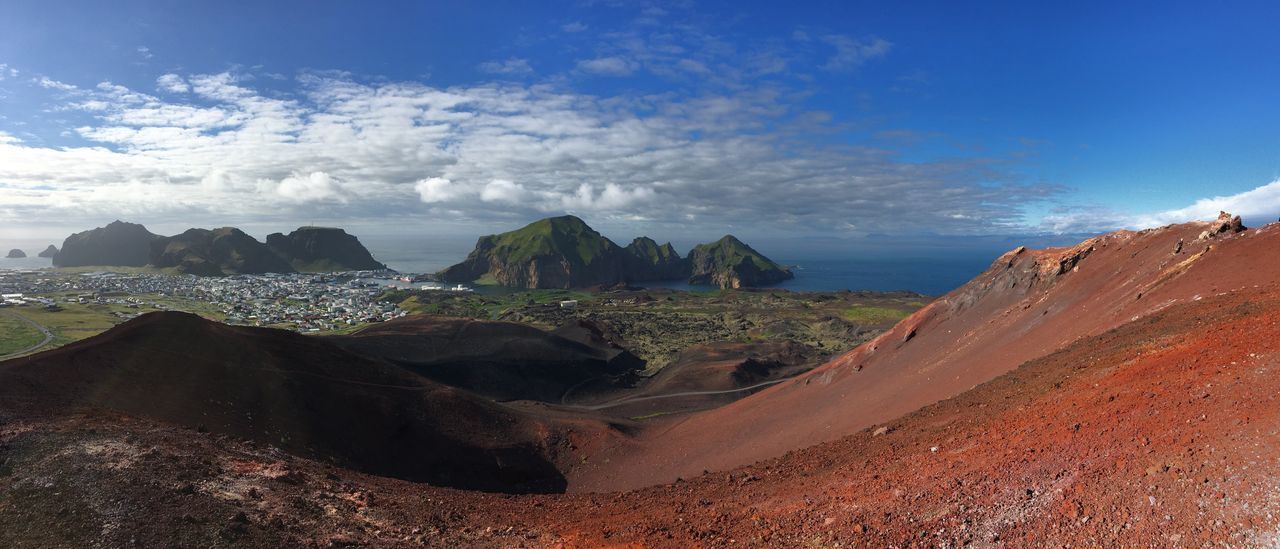 View of Vestmannaeyjar from the top of Eldfell. Geology Beauty In Nature Scenics Nature Physical Geography Rock Formation Mountain Landscape Panorama Westman Island Vestmannaeyjar Iceland Volcanic Landscape Volcano Crater Volcanic Island The Great Outdoors - 2017 EyeEm Awards