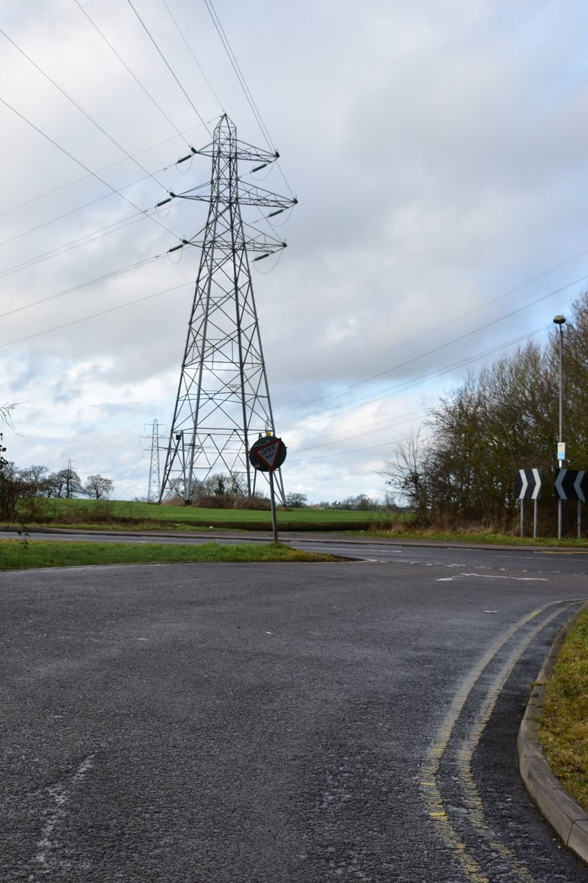 road, electricity pylon, cable, sky, cloud - sky, day, no people, electricity, outdoors, fuel and power generation, tree, landscape, nature
