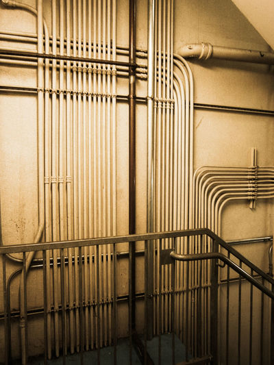 Architecture Close-up Day Hand Rail Indoors  No People Oddly Satisfying Order Oregon Parking Garage Pipe - Tube Railing Stairs Wall