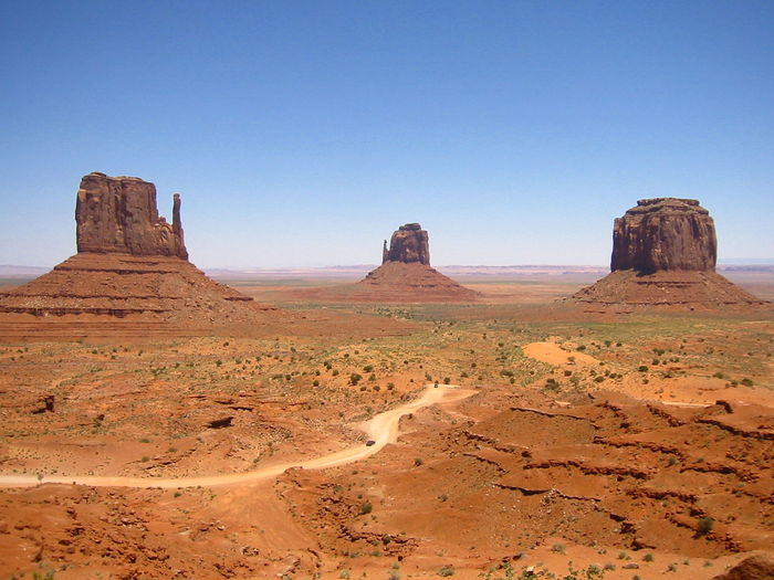 Scenic View Of The Mittens At Monument Valley
