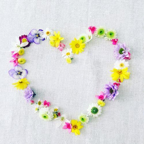 Flowers arranged in heart shape on fabric