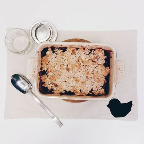 continuing the blueberry madness: paleo blueberry crisp || Vscocam Paleobaking Paleo Blueberry seattlelife baking eatlocal eatfresh
