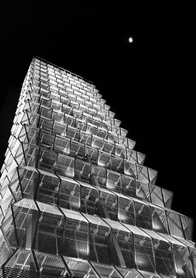 Low angle view of illuminated built structure