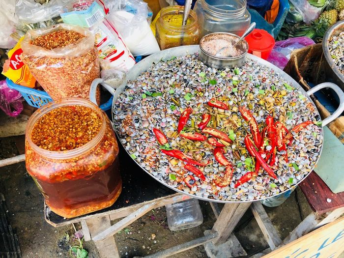 High Angle View Market Retail  For Sale Variation Choice Large Group Of Objects No People Abundance Still Life Market Stall Multi Colored Food And Drink Arrangement Day Food Container Freshness Business Small Business