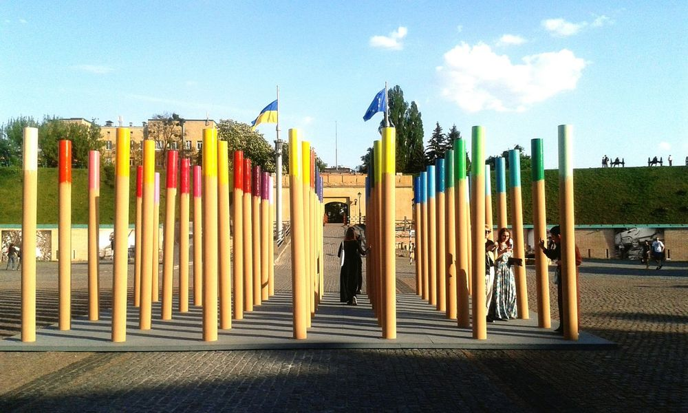 Art Exhibition Ukraine_art Oblique Caponier Flag Kiev Ukraine Fortress Fortress Wall People