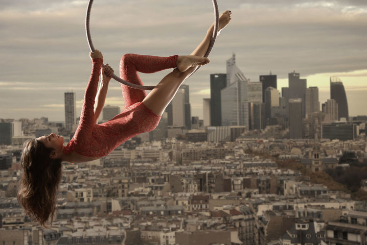 Acrobatic Acrobatics  Aerial Aerial Hoop Beautiful Woman Paris Paris ❤ Paris, France  Legs Model Outdoors Aerial Acrobatics Vertigo Woman La Defense Paris La Défense