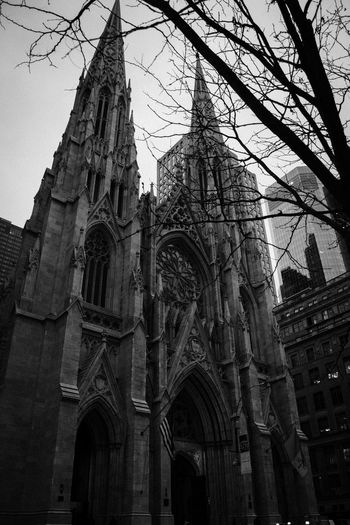 Urban Architecture City Life New York New York City Cathedral Temple Church Balck And White