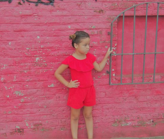 Mi retoño . . . <3 Casual Clothing Childhood Day Elementary Age Front View Girls Holding Leisure Activity Lifestyles One Person Outdoors People Real People Red Standing
