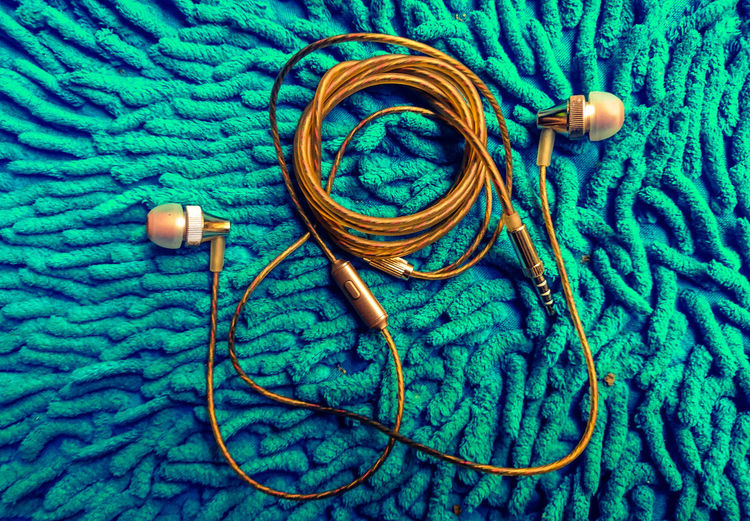 Earphone Headset Textile Wool Fabric Close-up Green Color