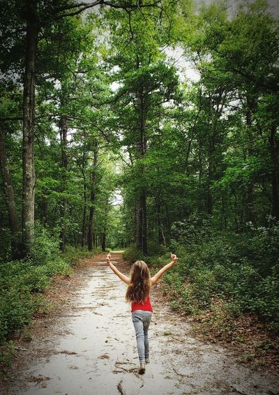 Tree Young Women Full Length Standing Happiness Rear View Fun Arms Raised Arms Outstretched Cheerful Energetic Hand Raised Human Arm Hiker