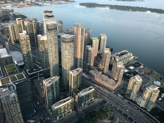 Toronto from above EyeEm Selects Water Building Exterior City High Angle View Built Structure Architecture Nature Outdoors Residential District Skyscraper Office Building Exterior Cityscape Building Sea No People Day Aerial View Bay
