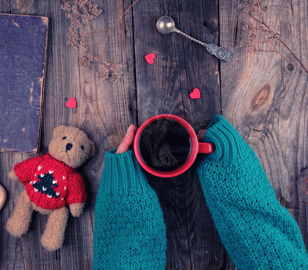 Toy Stuffed Toy Teddy Bear Indoors  Wood - Material Animal Representation Childhood Wool Representation Creativity Textile Directly Above Red Craft Art And Craft High Angle View Still Life Holiday Softness Scarf Sock Warm Clothing