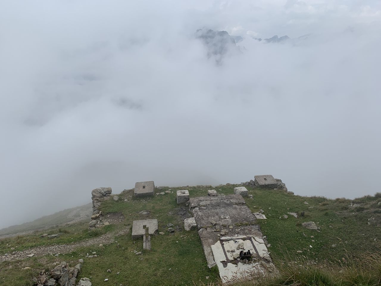 history, sky, architecture, the past, fog, ancient, built structure, nature, cloud - sky, mountain, building exterior, plant, day, no people, land, old ruin, environment, outdoors, tranquility, ancient civilization, ruined