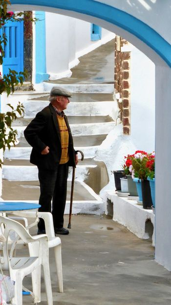 Adult Architecture Building Exterior Built Structure Cold Temperature Day Full Length Greece Lifestyles Old Man One Person Outdoors People Real People Santorini Standing Warm Clothing Winter The Portraitist - 2017 EyeEm Awards The Street Photographer - 2018 EyeEm Awards