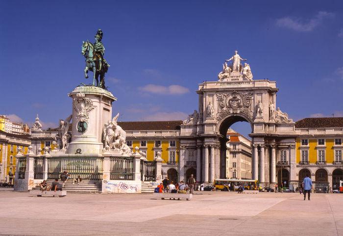 Jun 2001 - Praca do Comercio, King Jose I Portugal Praça Do Comércio, Lisboa Public Space Sky And Clouds Statue Day Plaza Tourist Destination