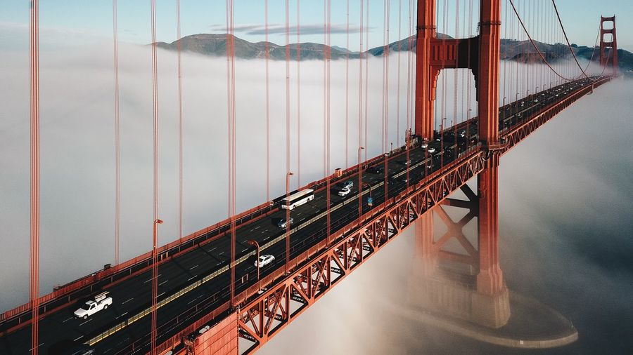 Golden Gate Bridge Over River Against Sky