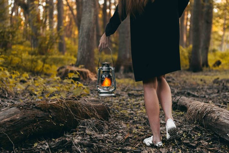 Beautiful legs of girl, walking in the forest with oil lamp. Summer time Adult Autumn Body Part Change Day Focus On Foreground Forest Human Leg Human Limb Land Leisure Activity Lifestyles Low Section Nature One Person Outdoors Plant Real People Standing Tree Walking Women