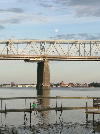 Moon Moonrise Bridge - Man Made Structure Water Built Structure Sky Boy Jetty Breathing Space