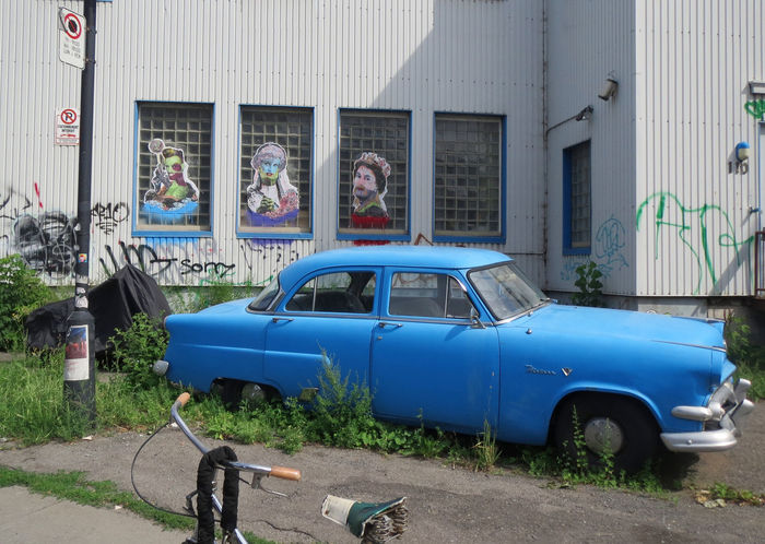 1950's Abandoned Bike Blue Color Broken Car Damaged Ford Meteor V8 Full Frame Grace Jones Graffiti Urban Landscape Mode Of Transport Montréal No People Obsolete Old-fashioned Princess Diana Queen Elizabeth  Side View Stationary Street Photography Streetart Transportation