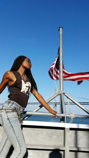 Blue Flag Patriotism Low Angle View Clear Sky One Person Cultures Sky One Young Woman Only Amusement Park Young Adult Bay Area California Exploring Outdoors Lifestyles Real People fashion #style #stylish #love #TagsForLikes #me #cute #photooftheday #nails #hair #beauty #beautiful #instagood instafashion Model Blackisbeautiful Blackisbeautifull Melanin Melanin Queen Water Waterwater Ferry bayarea