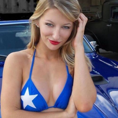 Native Texas beauty at a custom car show, Austin Summer, is living proof of the legendary beauty of Texas women. Here she represents the TEXAS BIKINI TEAM