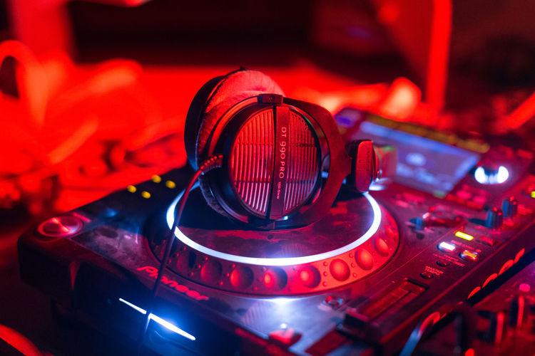 Close-up of illuminated red lights