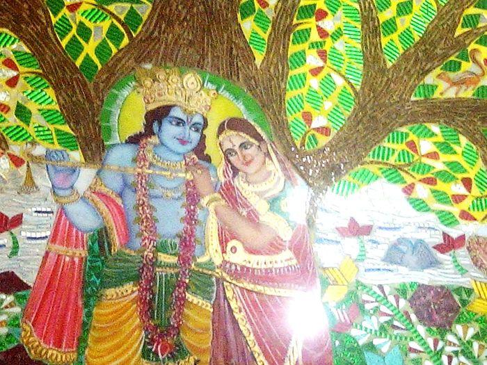 Lord Krishna  Radhe Krishna Paintings On The Wall Indoors  Temple Beautiful Glass Paintings Decorations on MahaShivRatri at sector8 Prachin Shiv Mandir