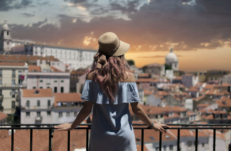 View at Lisbon city, Portugal Alfama Alone Fashion Portugal Student Tourist Travel Trip Architecture City Cityscape Europe Lifestyles Lisbon Looking At View Sky Solitude Sunrise Sunset Tourism Travel Destinations Women