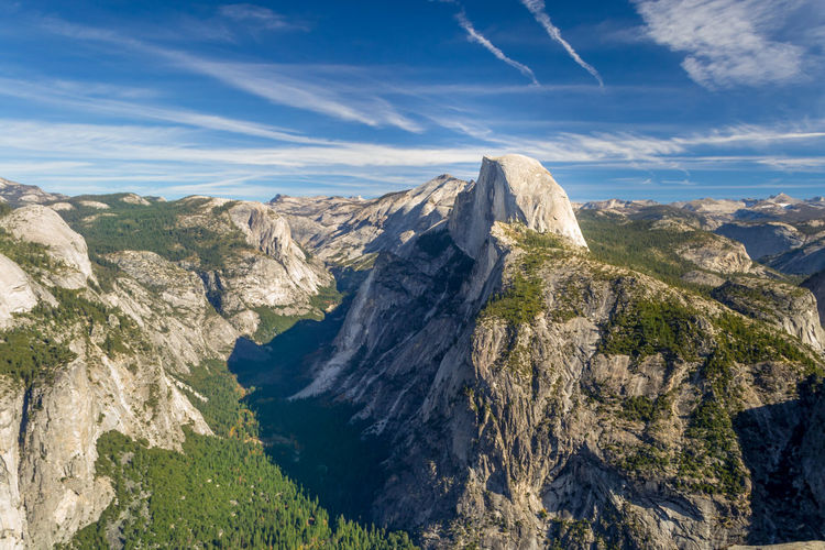 Half dome, granite rock and mountain at the eastern end of yosemite valley in yosemite national park